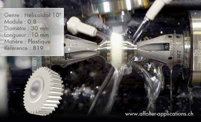 Application engrenage AFFOLTER - Cylindre hélicoïdal 10°, 30x10mm, module 0.8, en plastique