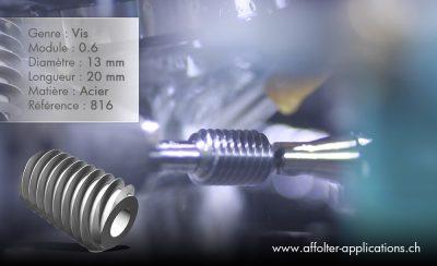 Application engrenage AFFOLTER - Vis sans fin 13x20mm, module 0.6, en acier