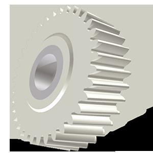 Cylindre héclicoïdal, taillage Ø30x10mm en plastique - Engrenage AFFOLTER sur machine à tailler CNC