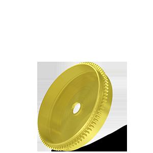 Tambour de barillet, taillage droit Ø12x1.7mm en laiton - Engrenage d'horlogerie AFFOLTER sur machine à tailler CNC